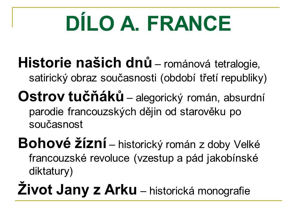 DÍLO A. FRANCE Historie našich dnů – románová tetralogie, satirický obraz současnosti (období třetí republiky)