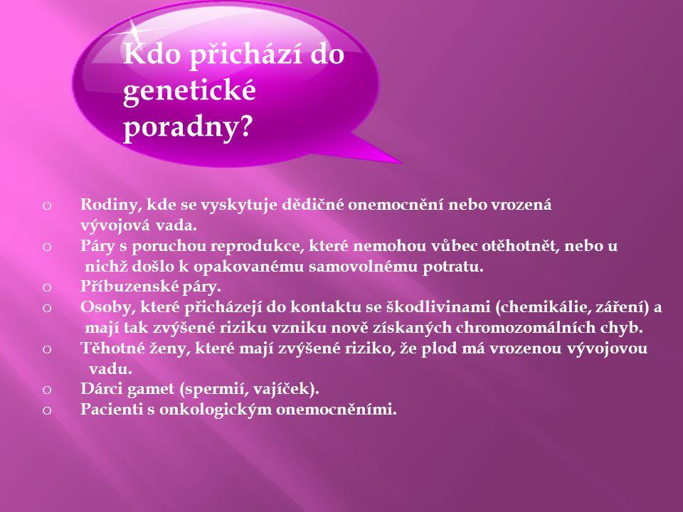 Kdo přichází do genetické poradny