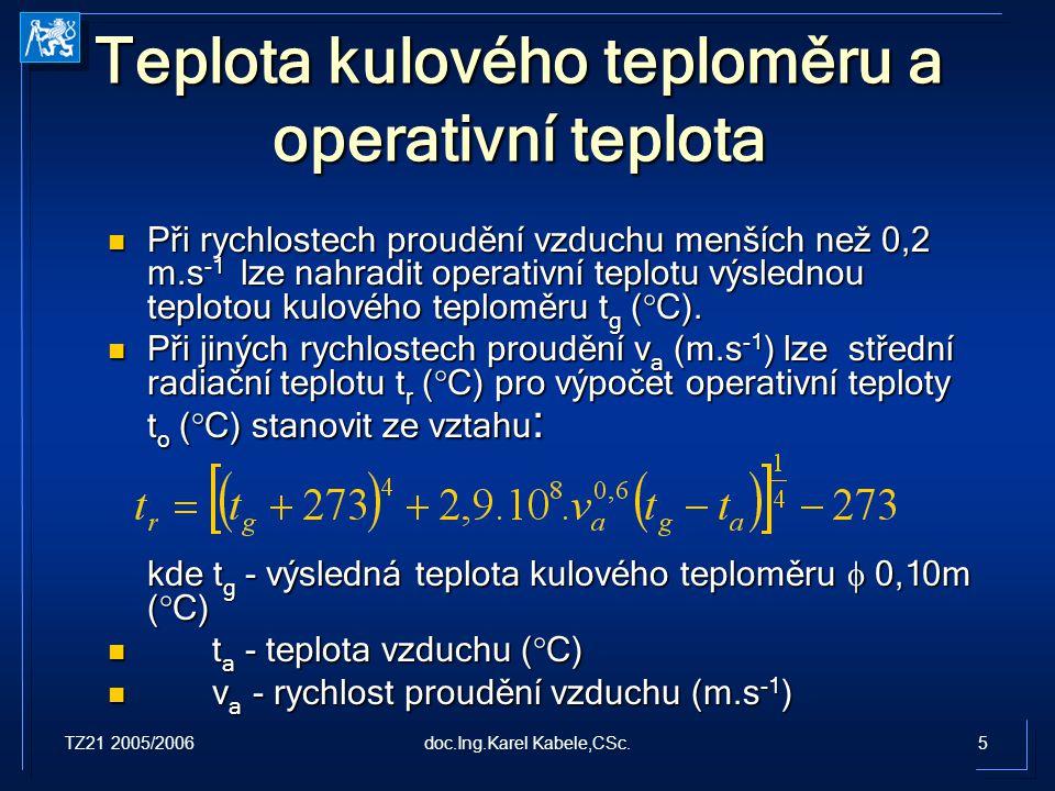 Teplota kulového teploměru a operativní teplota