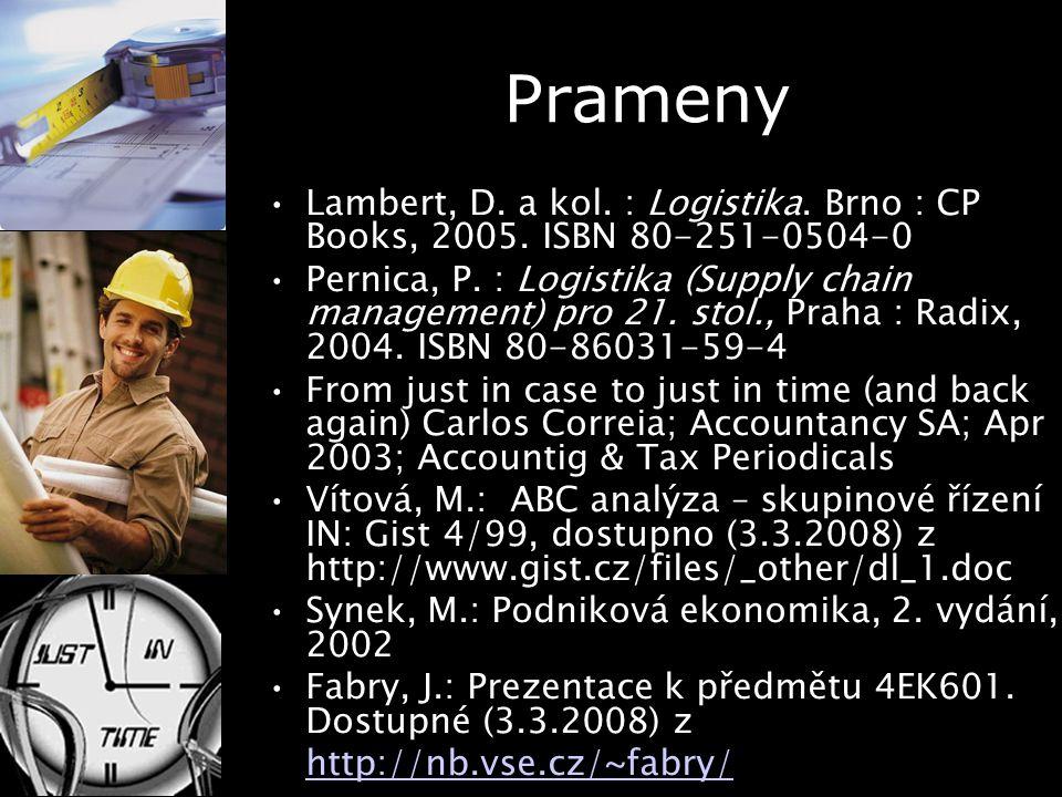 Prameny Lambert, D. a kol. : Logistika. Brno : CP Books, 2005. ISBN 80-251-0504-0.