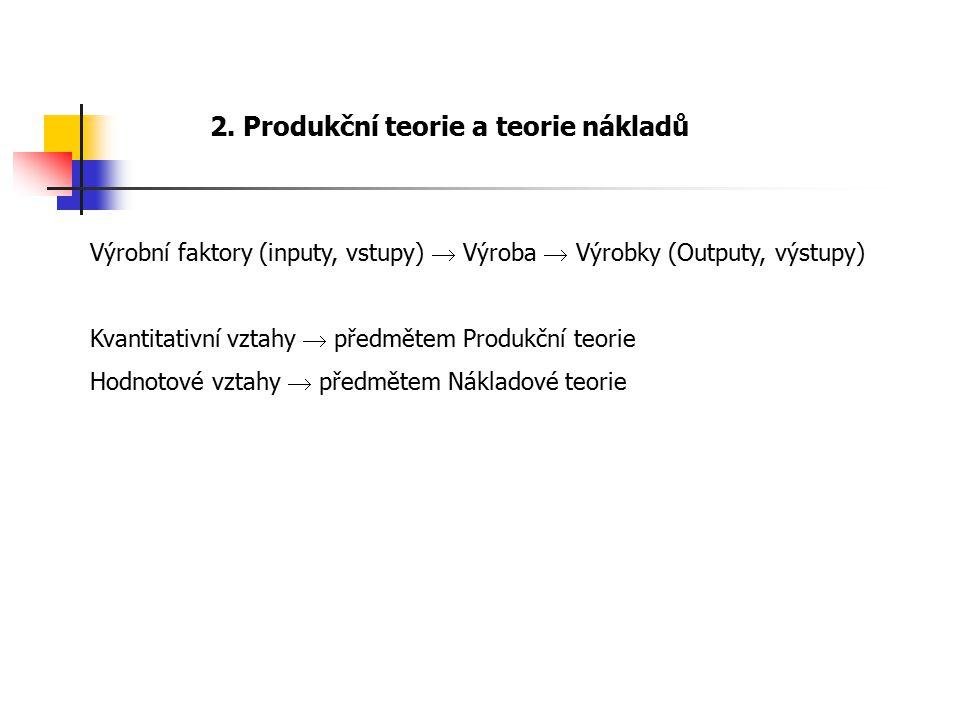 2. Produkční teorie a teorie nákladů