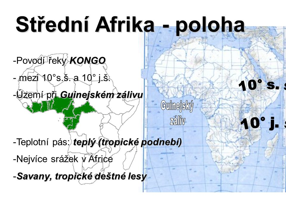 Střední Afrika - poloha