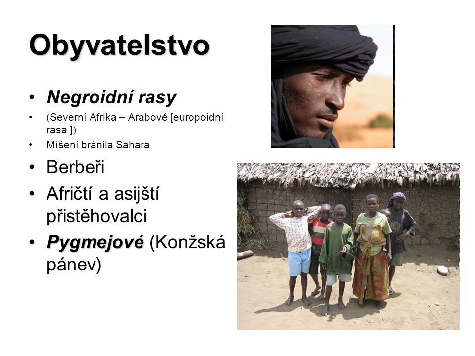 Obyvatelstvo Negroidní rasy Berbeři Afričtí a asijští přistěhovalci
