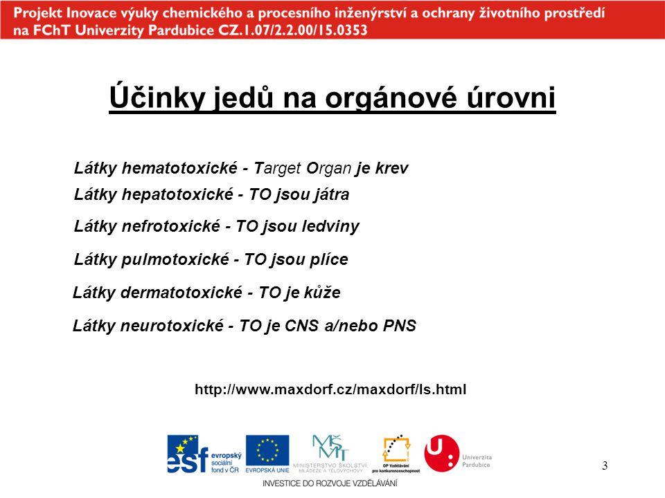 Účinky jedů na orgánové úrovni