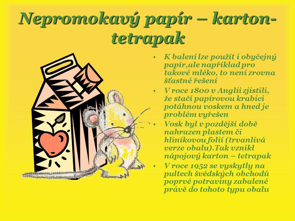 Nepromokavý papír – karton-tetrapak