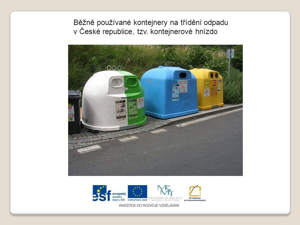 Běžně používané kontejnery na třídění odpadu v České republice, tzv