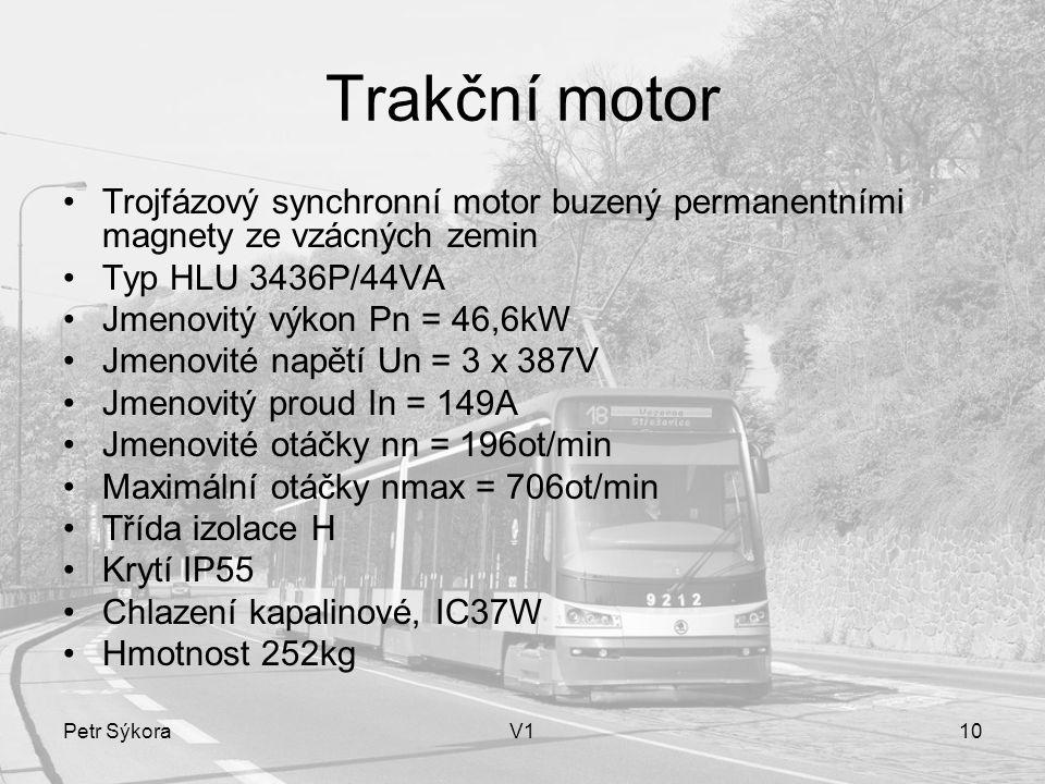 Trakční motor Trojfázový synchronní motor buzený permanentními magnety ze vzácných zemin. Typ HLU 3436P/44VA.
