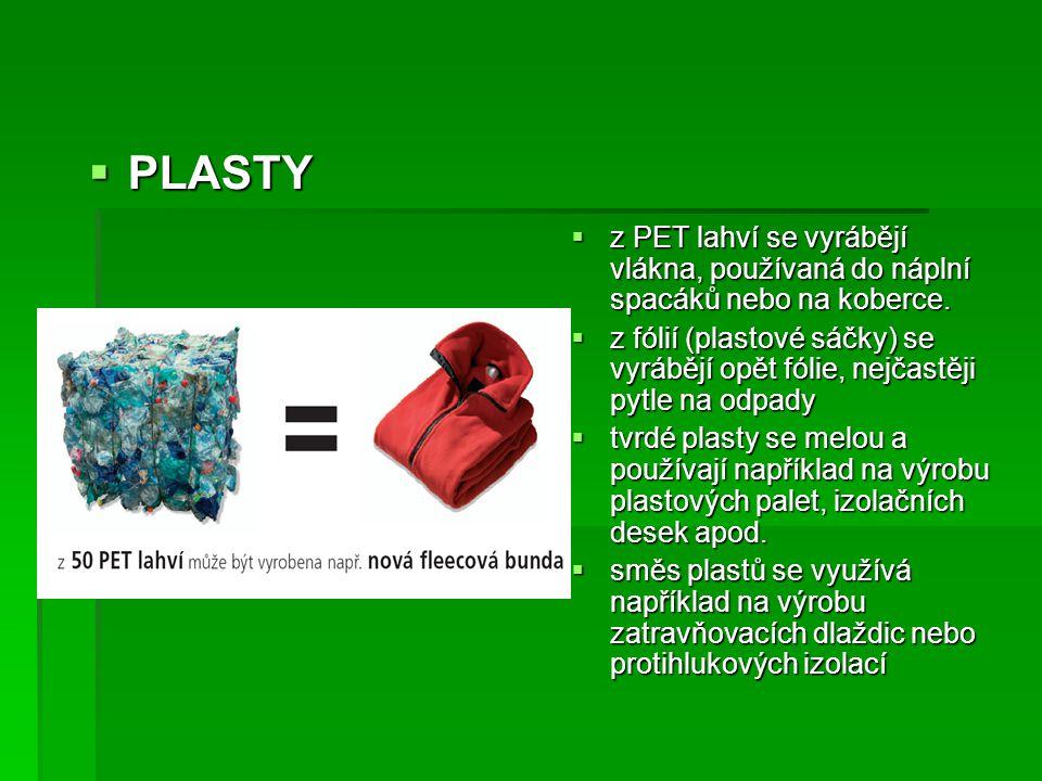 PLASTY z PET lahví se vyrábějí vlákna, používaná do náplní spacáků nebo na koberce.