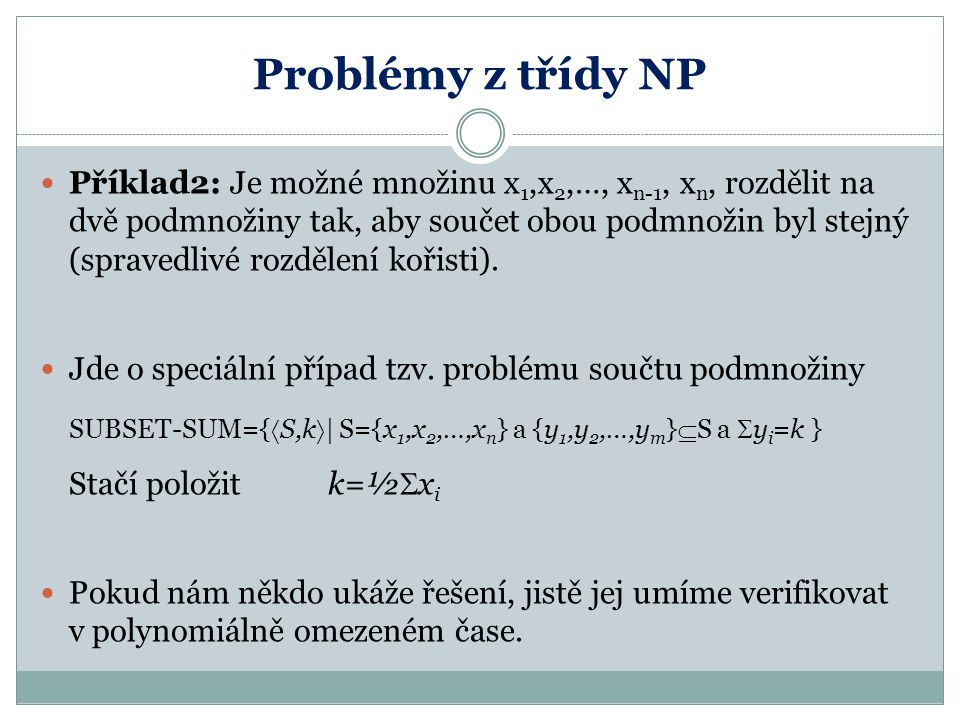 Problémy z třídy NP