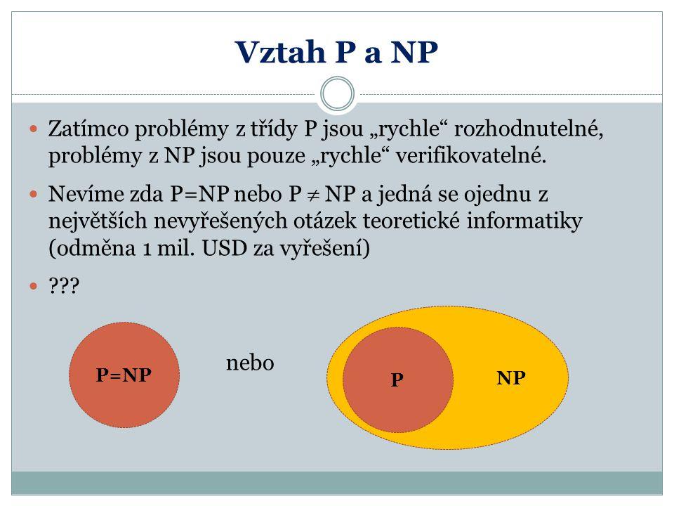 """Vztah P a NP Zatímco problémy z třídy P jsou """"rychle rozhodnutelné, problémy z NP jsou pouze """"rychle verifikovatelné."""