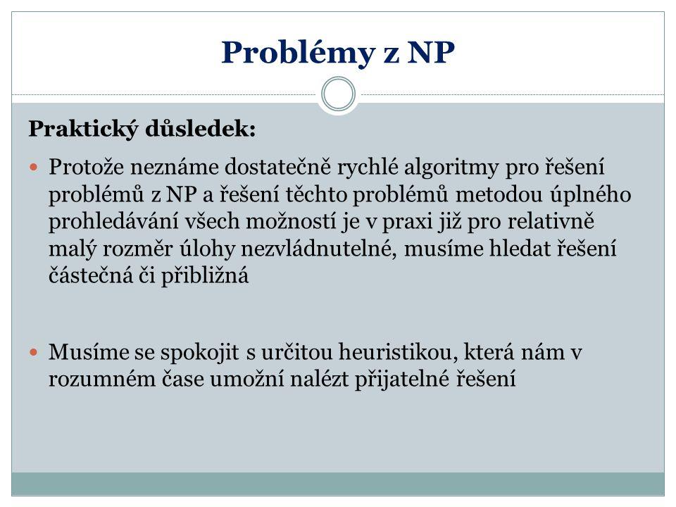 Problémy z NP Praktický důsledek: