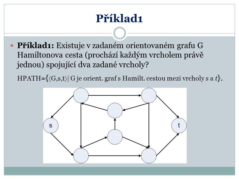 Příklad1 Příklad1: Existuje v zadaném orientovaném grafu G Hamiltonova cesta (prochází každým vrcholem právě jednou) spojující dva zadané vrcholy