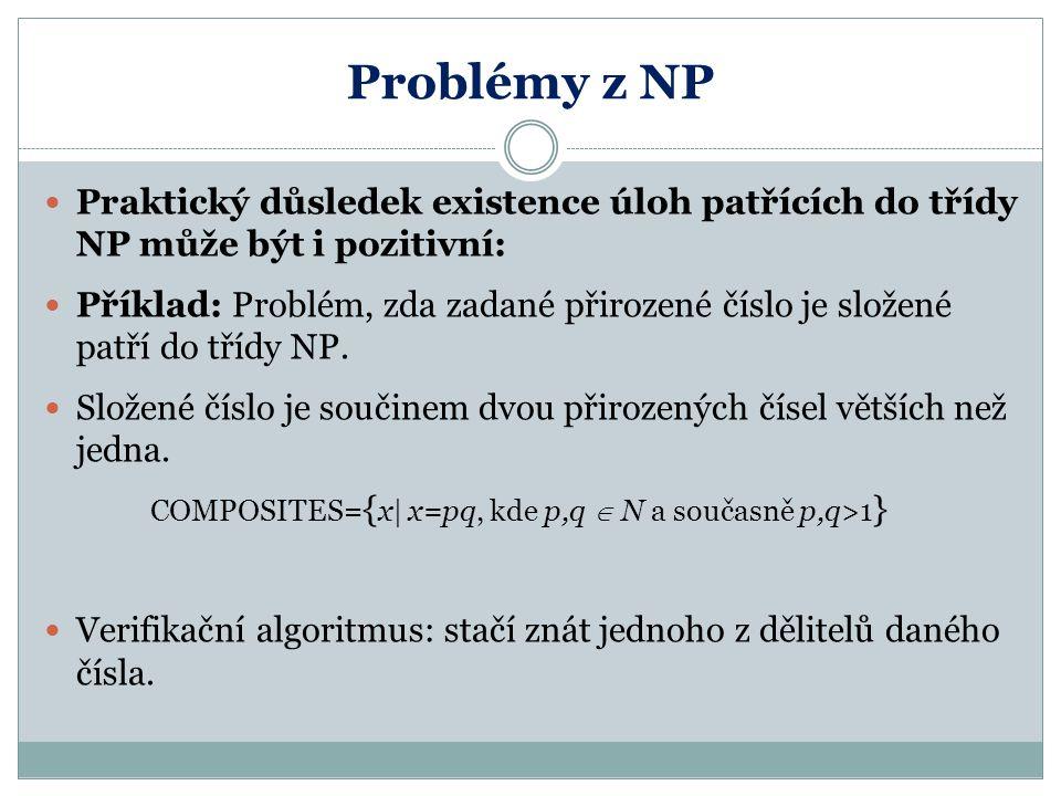 Problémy z NP Praktický důsledek existence úloh patřících do třídy NP může být i pozitivní: