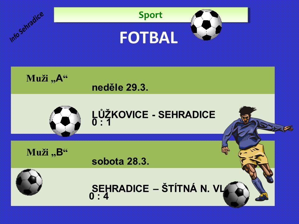 """FOTBAL Sport Muži """"A neděle 29.3. LŮŽKOVICE - SEHRADICE 0 : 1"""