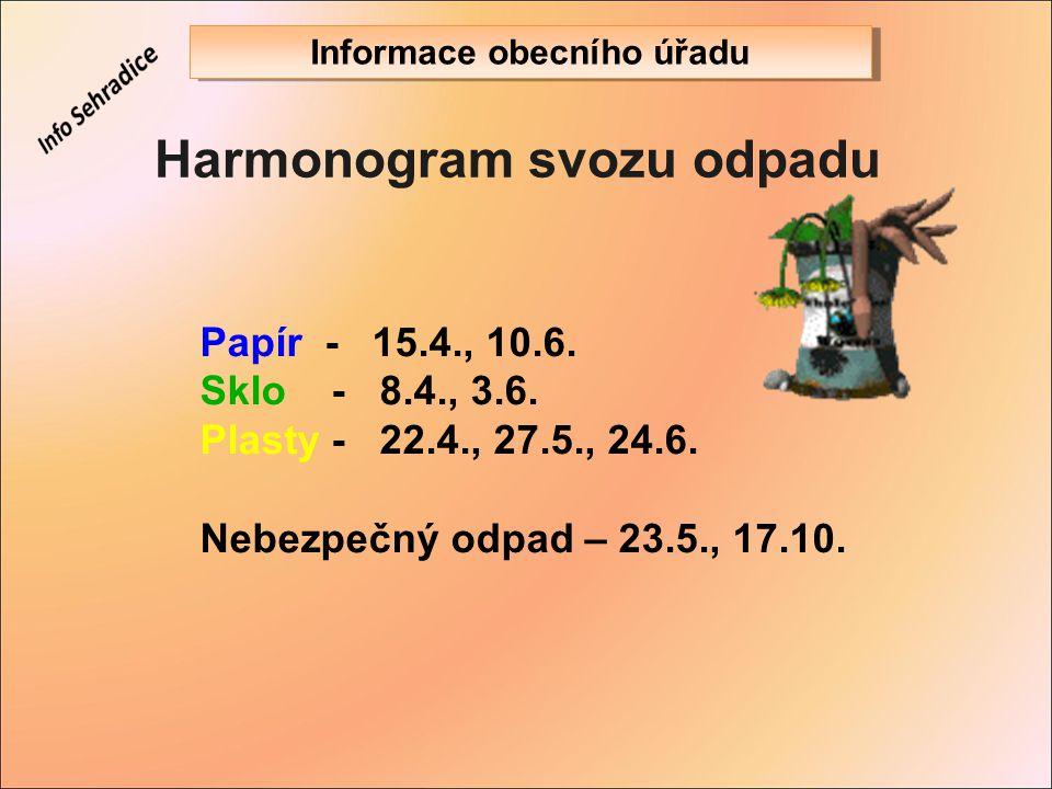 Harmonogram svozu odpadu