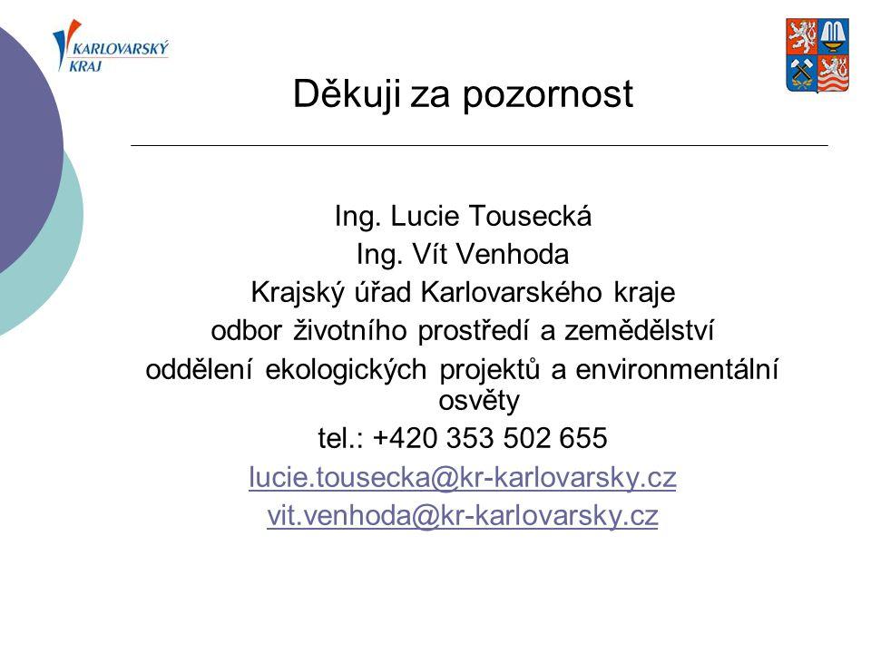 Děkuji za pozornost Ing. Lucie Tousecká Ing. Vít Venhoda