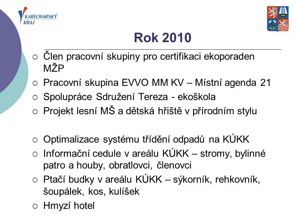 Rok 2010 Člen pracovní skupiny pro certifikaci ekoporaden MŽP