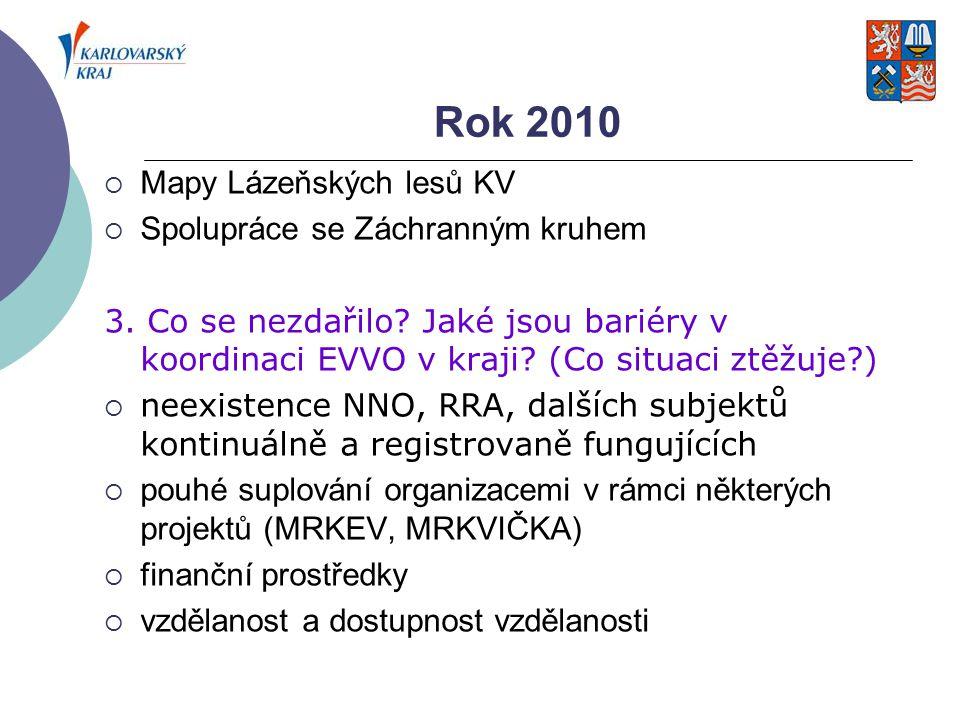Rok 2010 Mapy Lázeňských lesů KV Spolupráce se Záchranným kruhem