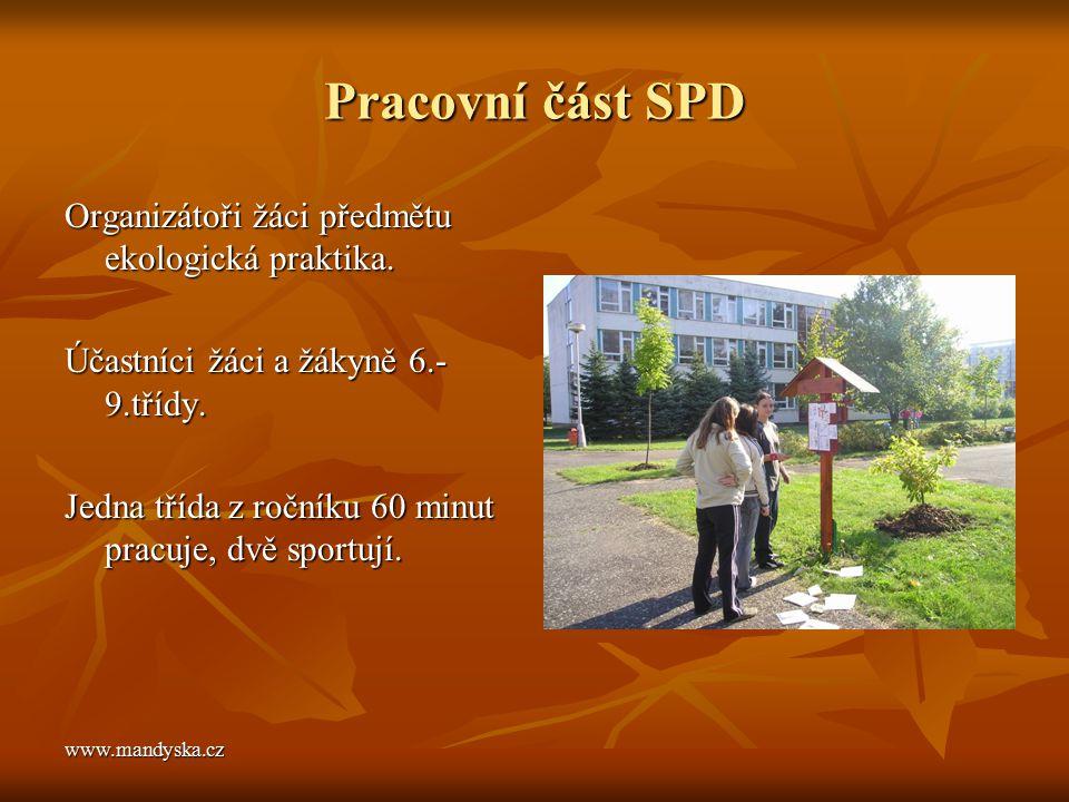 Pracovní část SPD Organizátoři žáci předmětu ekologická praktika.