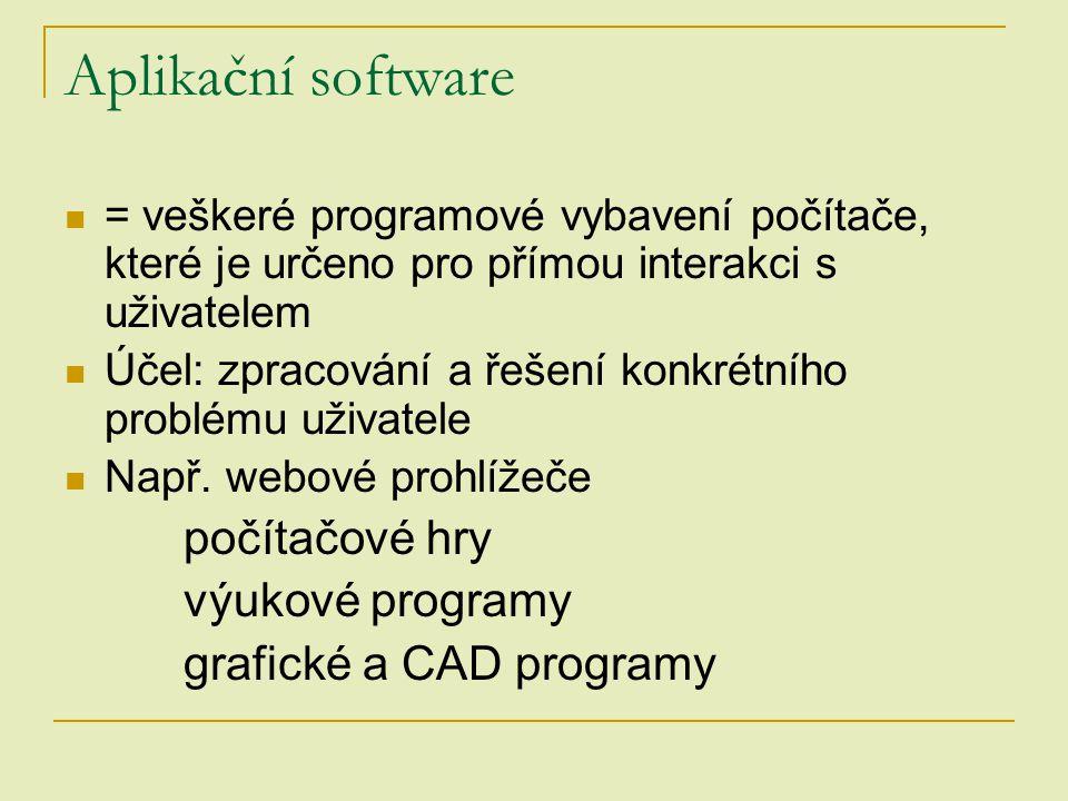 Aplikační software počítačové hry výukové programy