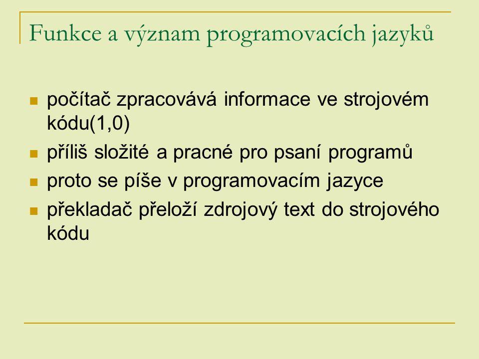 Funkce a význam programovacích jazyků