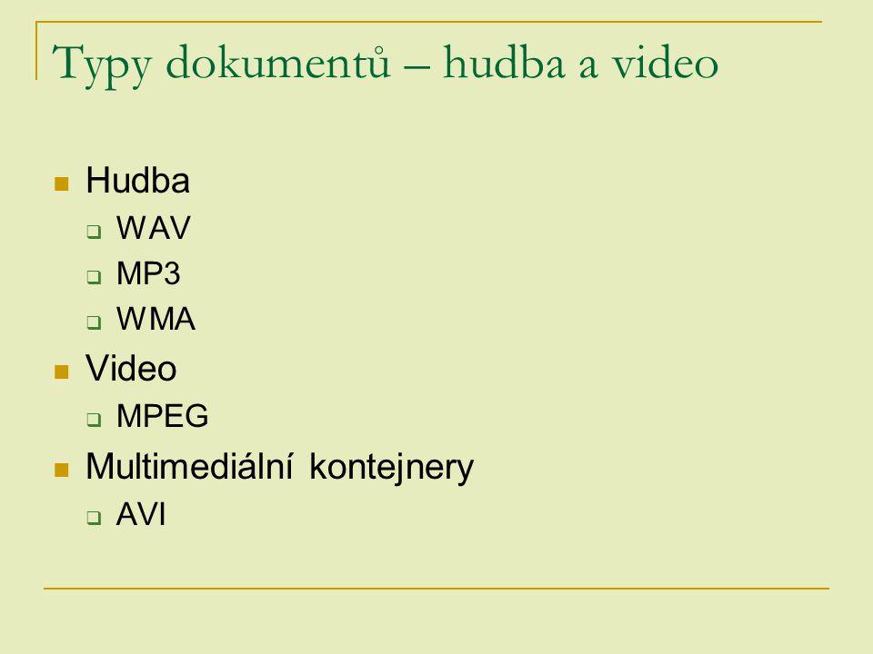 Typy dokumentů – hudba a video