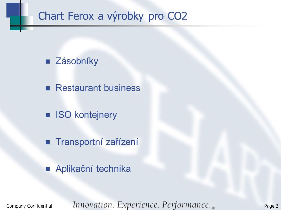 Chart Ferox a výrobky pro CO2