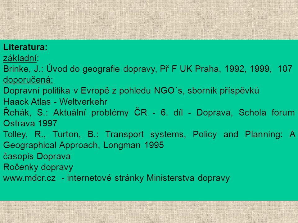 Literatura: základní: Brinke, J.: Úvod do geografie dopravy, Př F UK Praha, 1992, 1999, 107. doporučená: