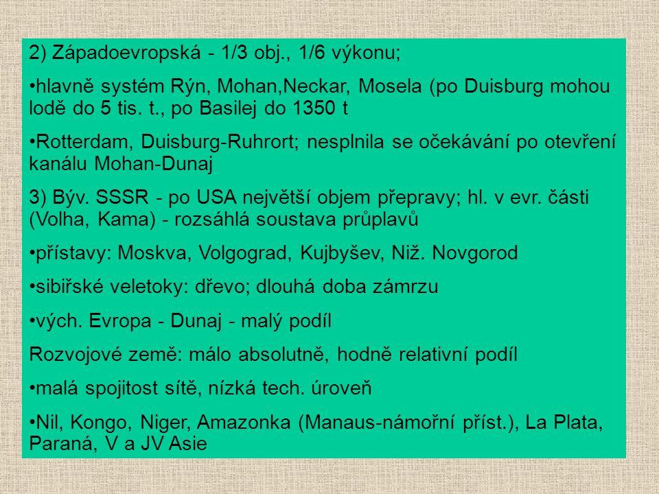 2) Západoevropská - 1/3 obj., 1/6 výkonu;