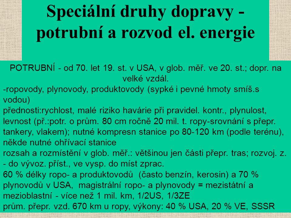 Speciální druhy dopravy - potrubní a rozvod el. energie