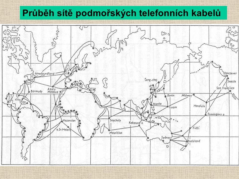 Průběh sítě podmořských telefonních kabelů