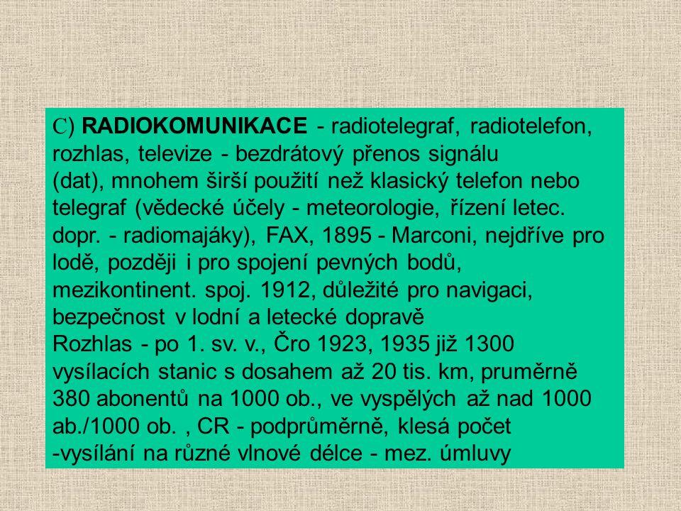 C) RADIOKOMUNIKACE - radiotelegraf, radiotelefon, rozhlas, televize - bezdrátový přenos signálu