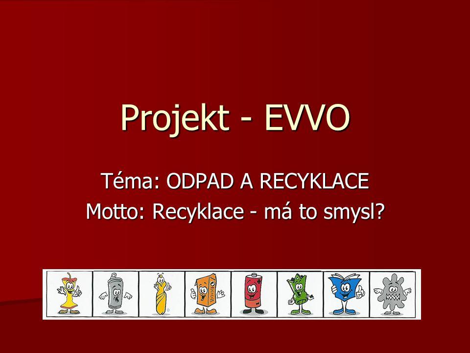 Téma: ODPAD A RECYKLACE Motto: Recyklace - má to smysl