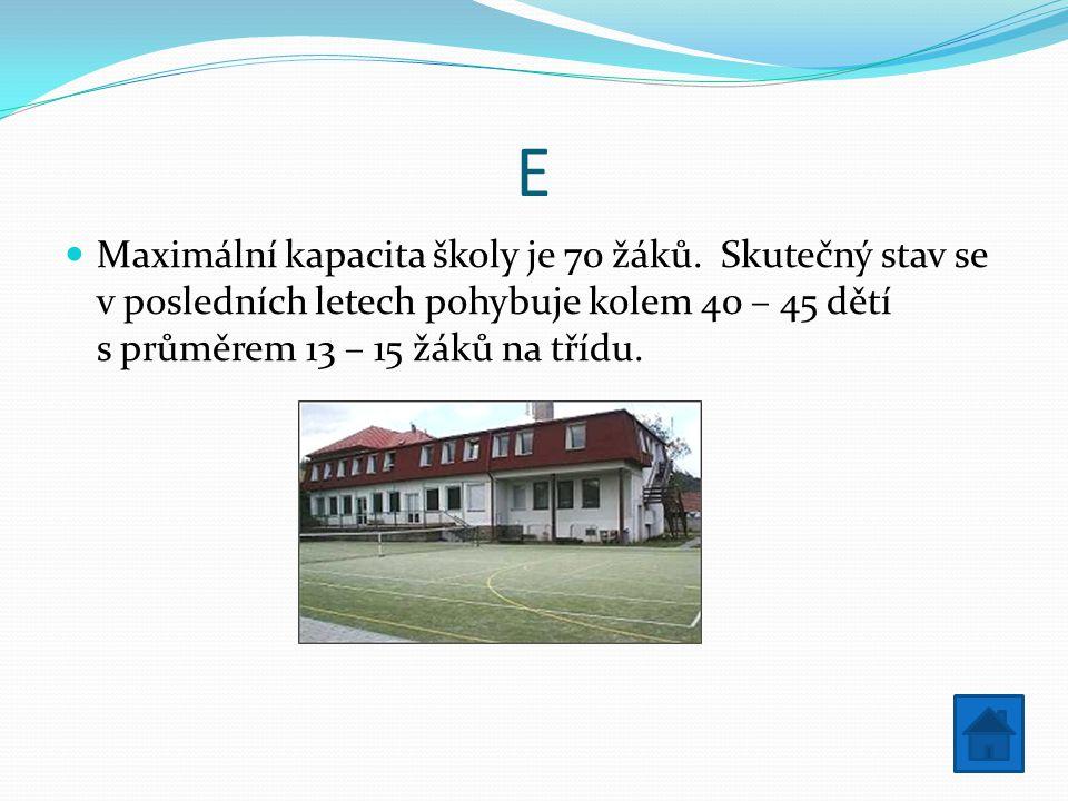 E Maximální kapacita školy je 70 žáků.