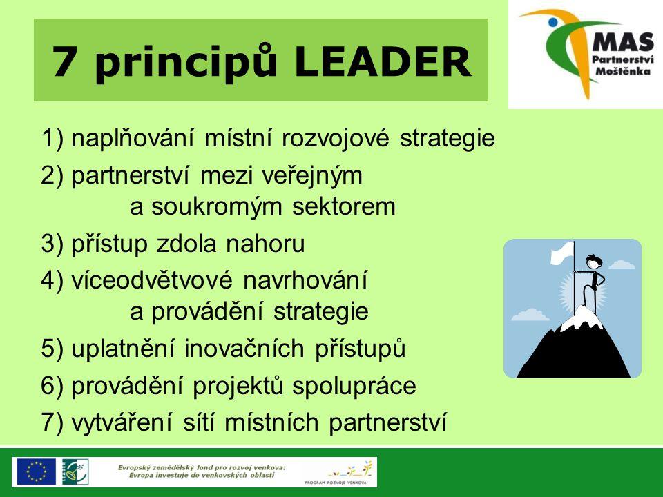 7 principů LEADER 1) naplňování místní rozvojové strategie