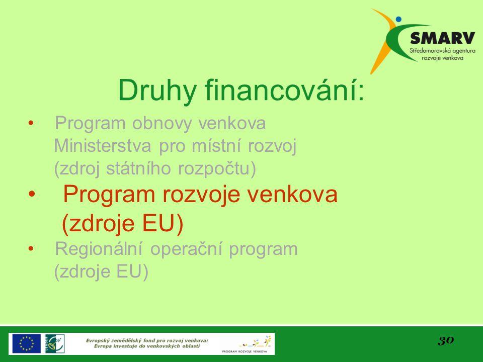 Druhy financování: Program rozvoje venkova (zdroje EU)