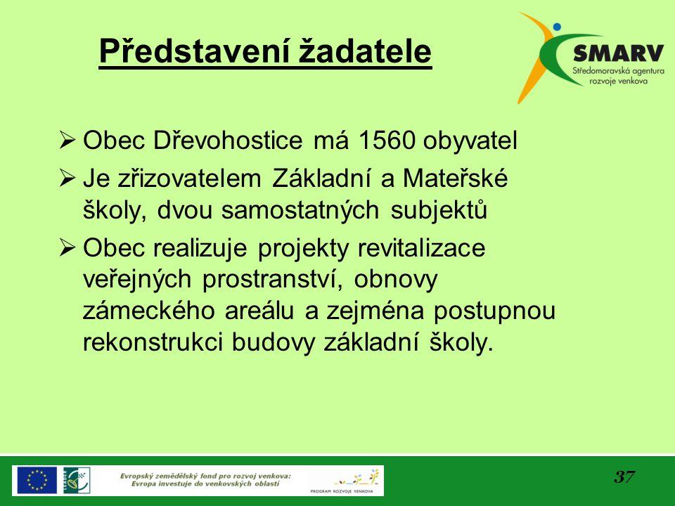 Představení žadatele Obec Dřevohostice má 1560 obyvatel