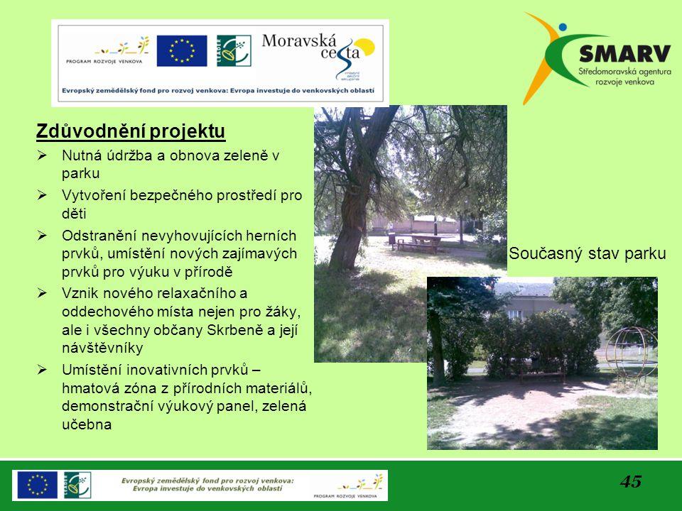 Zdůvodnění projektu Současný stav parku