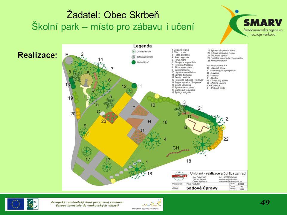 Žadatel: Obec Skrbeň Školní park – místo pro zábavu i učení