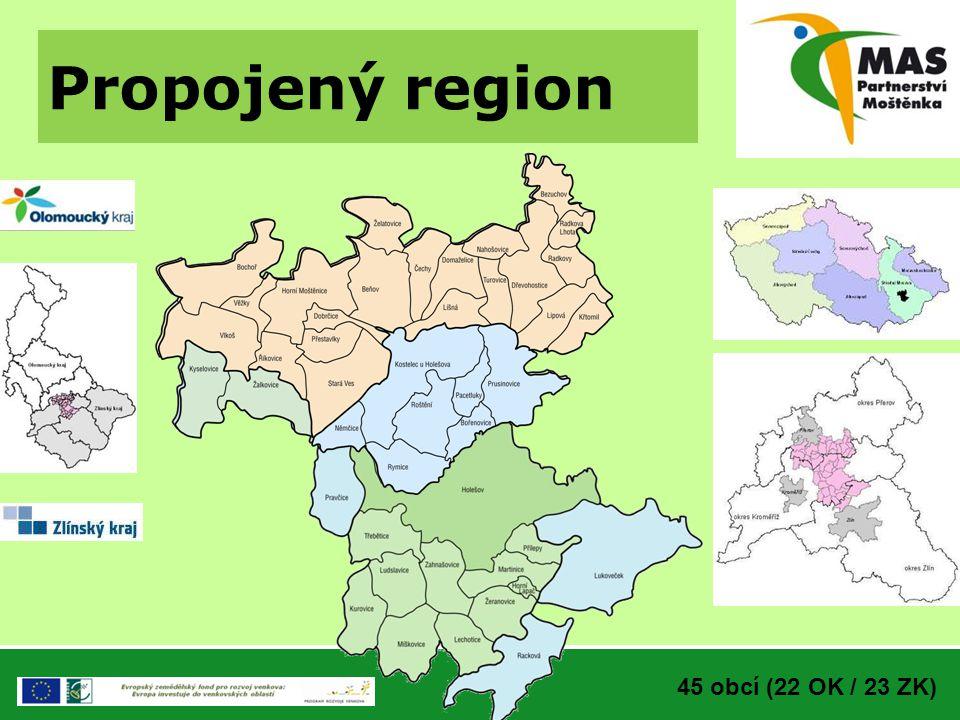 Propojený region 45 obcí (22 OK / 23 ZK)
