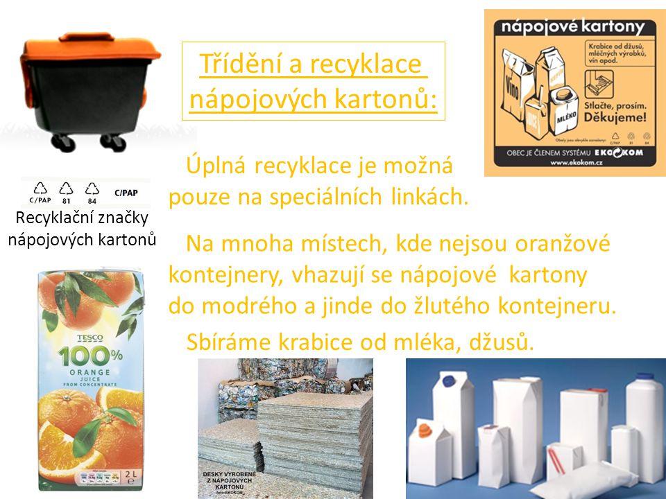 Třídění a recyklace nápojových kartonů: Úplná recyklace je možná