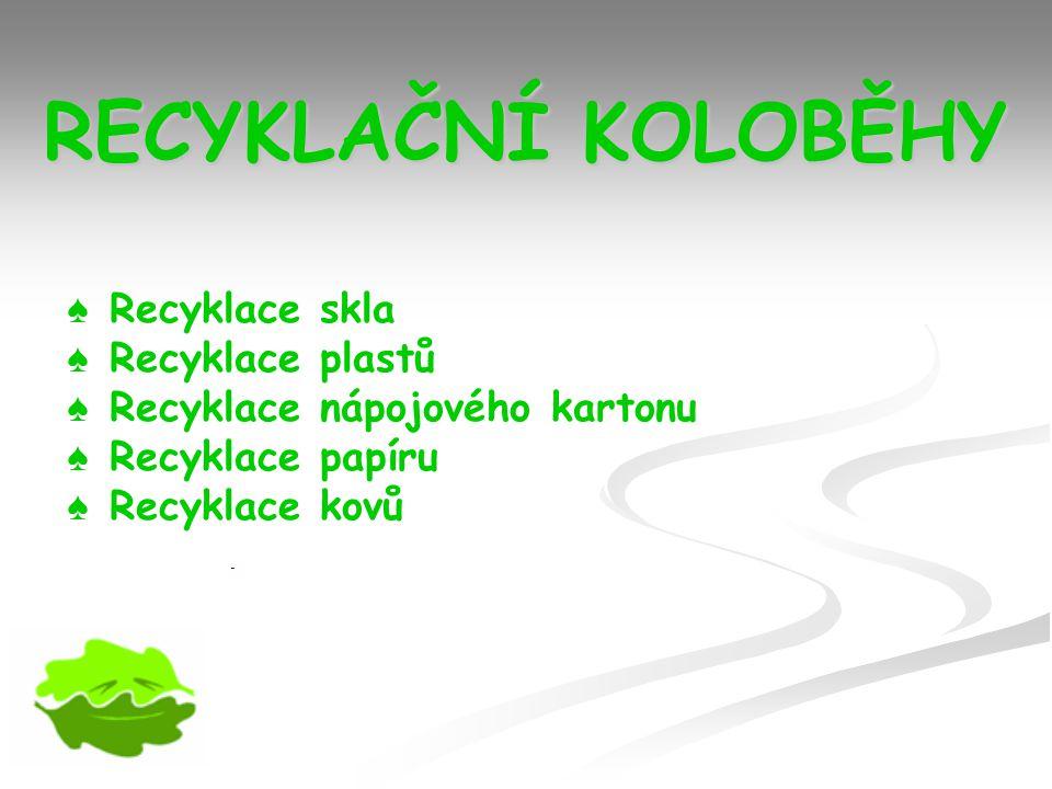 RECYKLAČNÍ KOLOBĚHY Recyklace skla Recyklace plastů