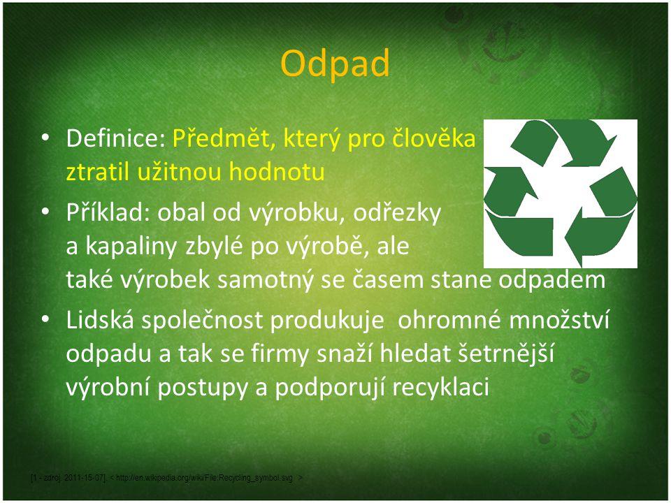 Odpad Definice: Předmět, který pro člověka ztratil užitnou hodnotu