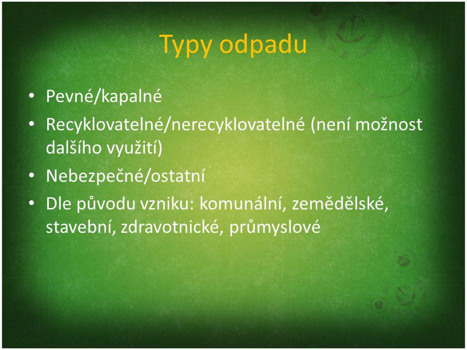 Typy odpadu Pevné/kapalné