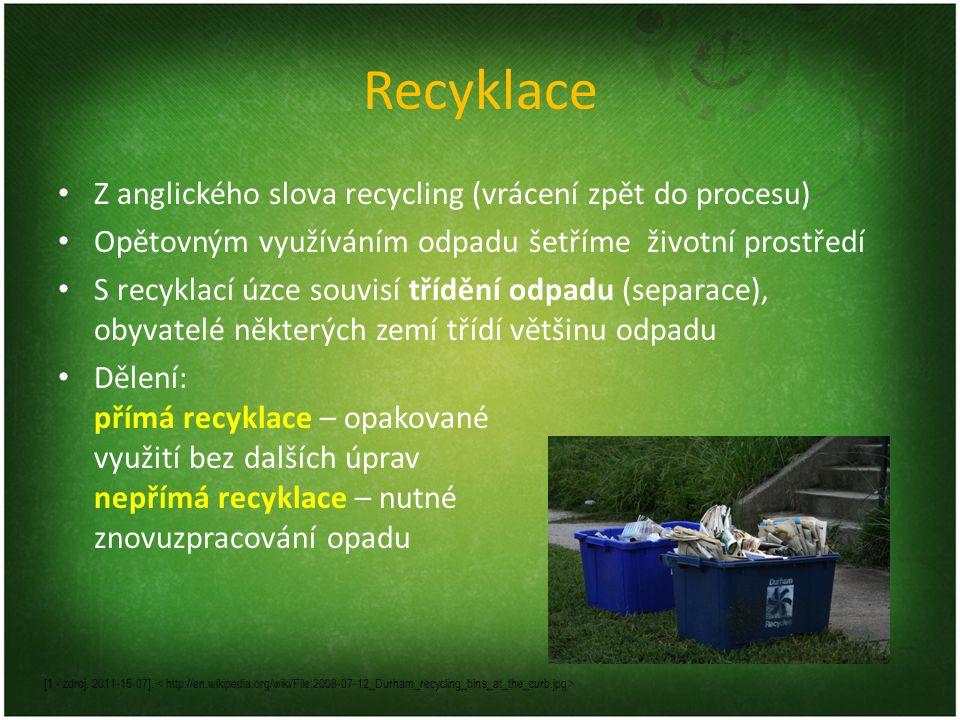 Recyklace Z anglického slova recycling (vrácení zpět do procesu)