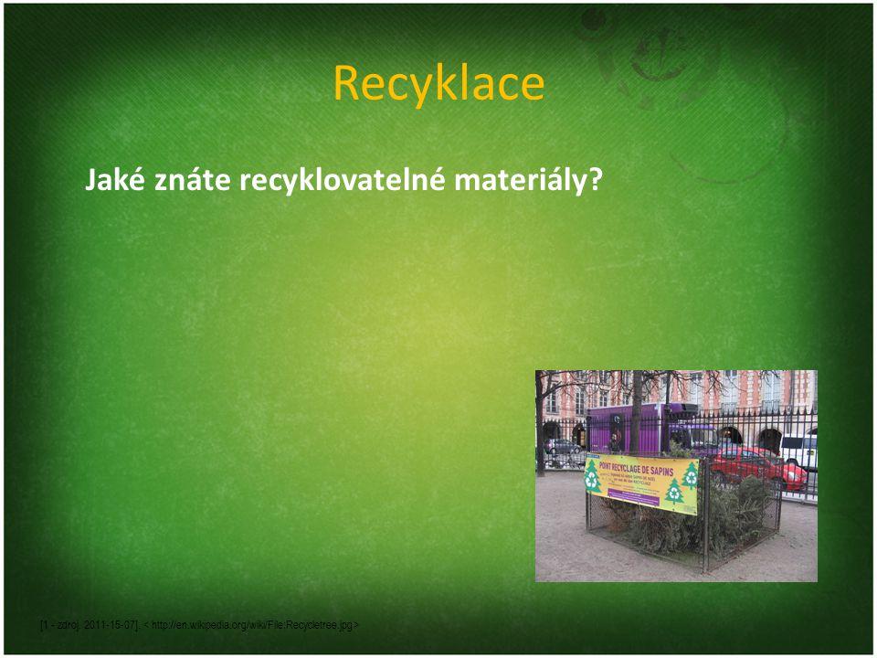 Recyklace Jaké znáte recyklovatelné materiály