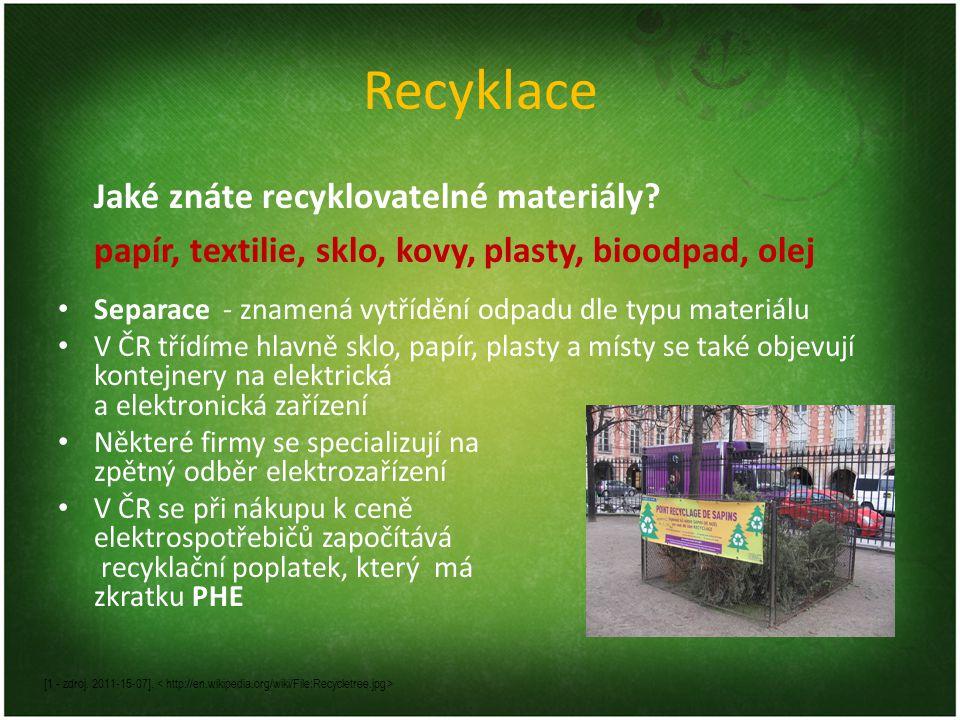 Recyklace Jaké znáte recyklovatelné materiály papír, textilie, sklo, kovy, plasty, bioodpad, olej