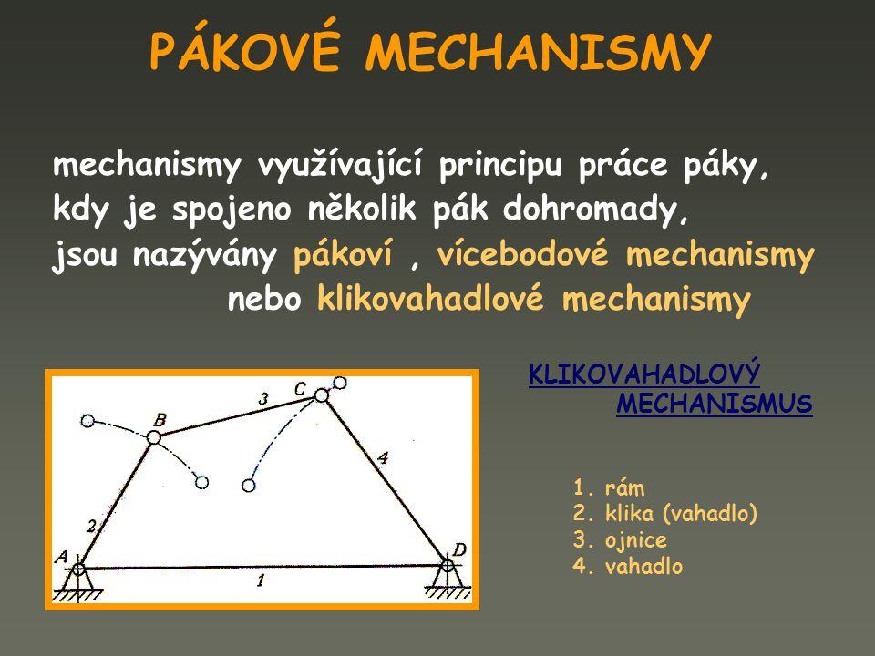 PÁKOVÉ MECHANISMY mechanismy využívající principu práce páky,