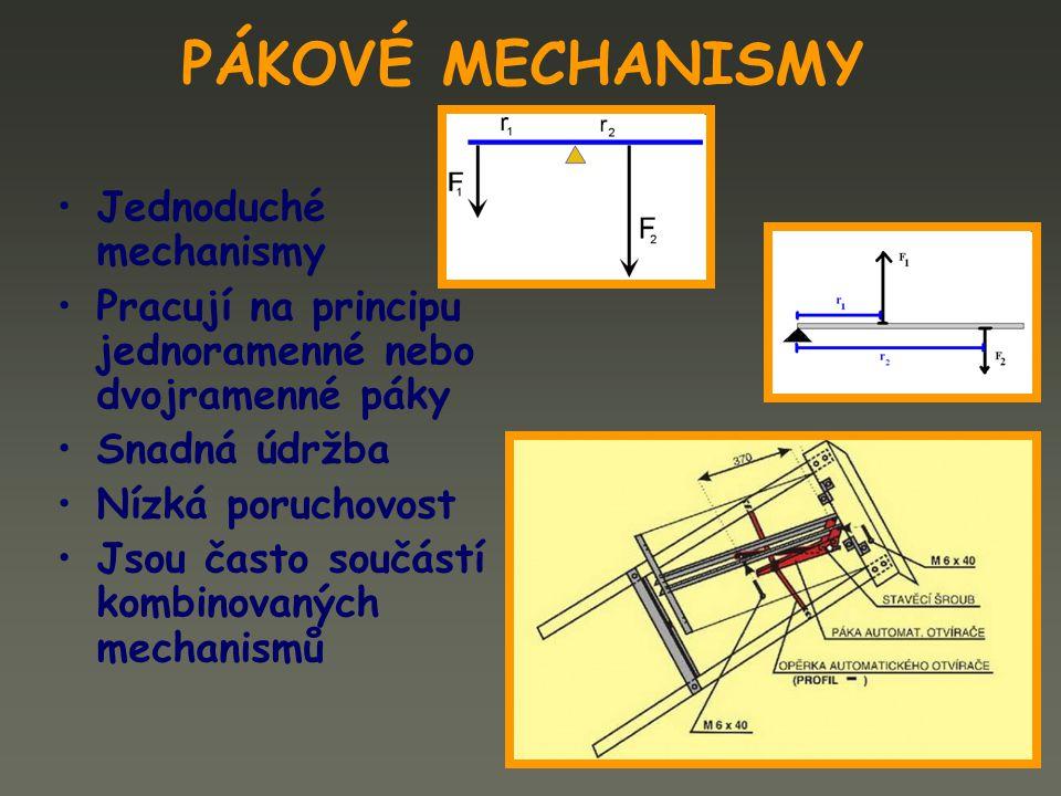 PÁKOVÉ MECHANISMY Jednoduché mechanismy