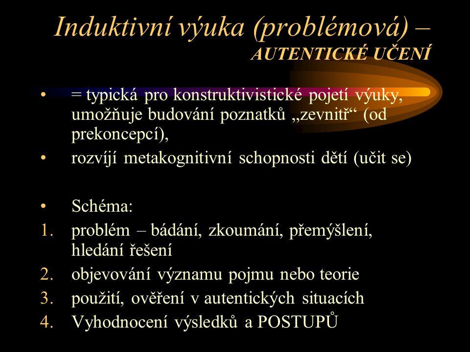 Induktivní výuka (problémová) – AUTENTICKÉ UČENÍ